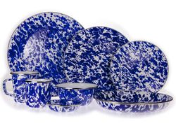 Blue Swirl Enamel Dinner Set