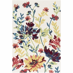 Botanical Yellow Hand Tufted Rug <font color=a8bb35> NEW</font>