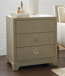 Brittany 3-Drawer Side Table in Gray Tweed