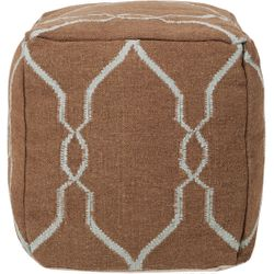 Brown Sugar/Sky Blue Wool Pouf