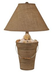 Bucket of Shells Lamp in Distressed Grey