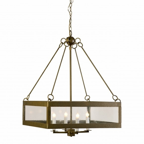 Calibougie Square Pendant Light with Seeded Glass