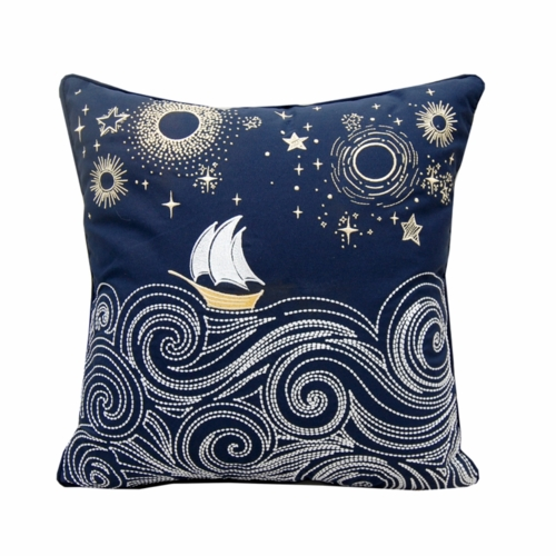 Cape Series Stormy Seas Embroidered Outdoor Pillow
