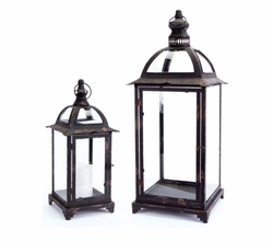 Cardinal Traditions Iron Lantern with Glass Set of 2