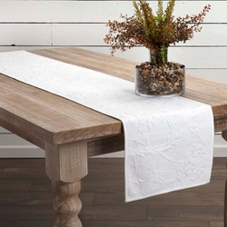 Carly Quilted Table Runner in White or Red