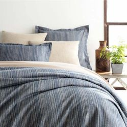 Cascade Stripe Flannel Blue/Oatmeal Duvet Cover<font color=a8bb35> NEW</font>