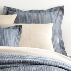 Cascade Stripe Flannel Blue/Oatmeal Sham<font color=a8bb35> NEW</font>