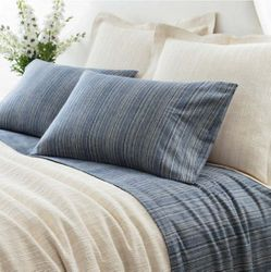 Cascade Stripe Flannel Blue/Oatmeal Sheet Set <font color=a8bb35> NEW</font>