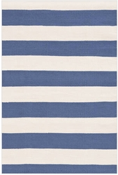 Catamaran Stripe Denim+Ivory Indoor/Outdoor Rug