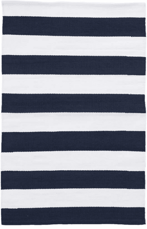 Catamaran Stripe Navy White For Sale Cottage Bungalow Indoor Outdoor Rug