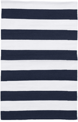 Catamaran Stripe Navy/White  Indoor/Outdoor Rug <font color=a8bb35>NEW</font>