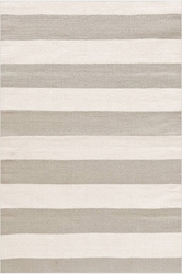 Catamaran Stripe Platinum and Ivory Indoor/Outdoor Rug