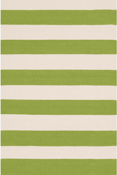 Catamaran Stripe Sprout/Ivory  Indoor/Outdoor Rug <font color=a8bb35>NEW</font>