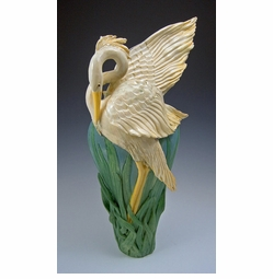 Ceramic Flame Wing Heron Vase - Limited Edition