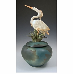 Ceramic Heron Covered Jar