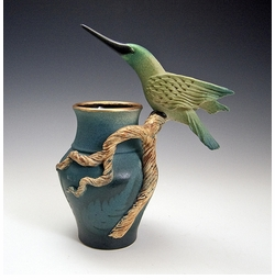 Ceramic Hummingbird Branch Vase