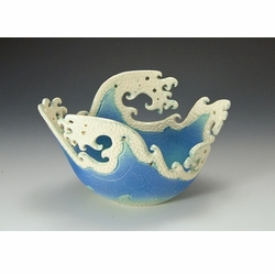 Ceramic Large Oval Wave Top Bowl