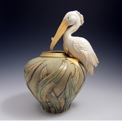 Ceramic White Pelican Vase - Limited Edition