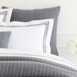 Chalk Stripe Grey Matelasse Duvet Cover 15% Off