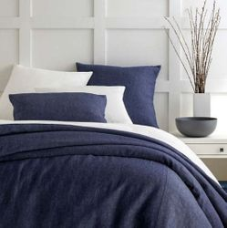 Chambray Linen Duvet Cover Ink/Navy 15% Off
