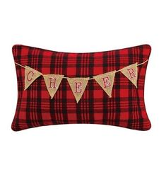 Cheer Garland on Red Plaid Pillow *NEW