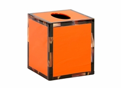 Cheval Lacquered Tissue Box with Faux Horn Border