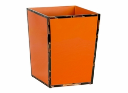 Cheval Lacquered Waste Bin with Faux Horn Border