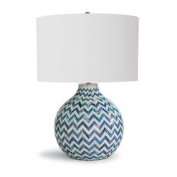 Chevron Bone Blue Table Lamp <font color=a8bb35> NEW</font>