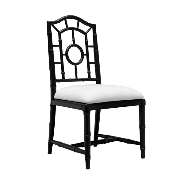 Chloe Lacquered Side Chair In Blue For Sale Cottage