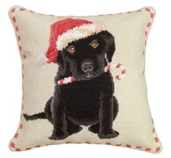 Christmas Black Lab Pillow   <font color=a8bb35> NEW</font>
