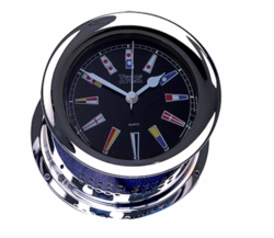 Chrome Plated Atlantis Quartz Clock - Black Dial w/ Color Flags *NEW