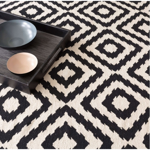 Clover Black Cotton Woven Rug *Sold out