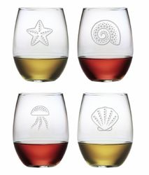 Coastal Stemless Wine Glasses Set of 4