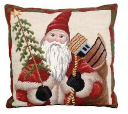 Colonial Santa Christmas Pillow  <font color=a8bb35> NEW</font>