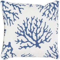 Coral Outdoor Pillow in Cobalt