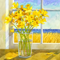 Daffodils in the Window Beach Print