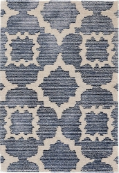China Blue Hand Knotted Wool/Viscose Rug
