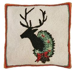 Deer with Wreath Christmas Pillow <font color=a8bb35> NEW</font>