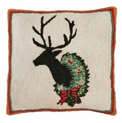 Deer with Wreath Christmas Pillow