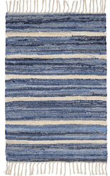 Denim Rag Stripe Woven Cotton Rug <font color=a8bb35>NEW</font>