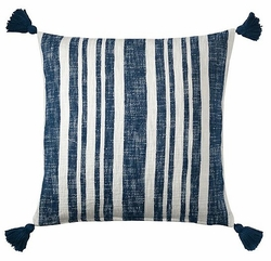 Denim Stripe Cotton Pillow <font color=a8bb35> NEW</font>
