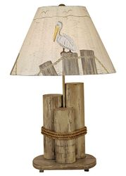 Dock Pilings Lamp in Distressed Grey w/ Pelican Shade