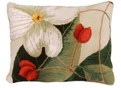 Dogwood Needlepoint Pillow