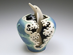 Dolphin Wave Cutout Ceramic Vase