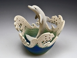 Dolphin Wave Rim Bowl