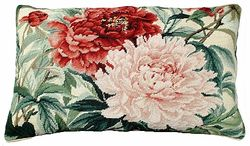 Double Peonies Needlepoint Pillow