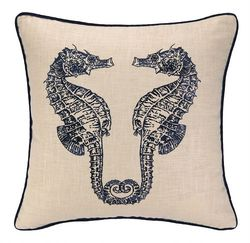Double Seahorse Embroidered Pillow