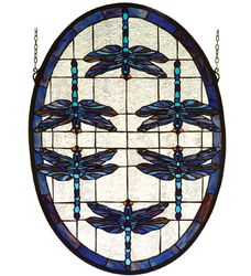 Dragonflies Stained Glass Oval Window