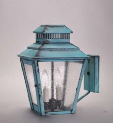 Elryan 2-Light Wall Mount Lantern with Seedy Marine Glass