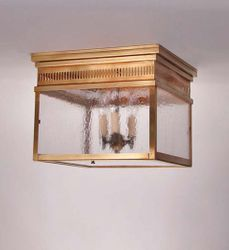 Elryan 3-Light Flush Mount Light Fixture with Seedy Marine Glass